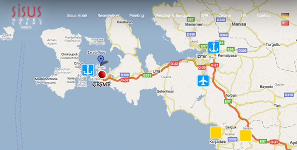 Sisus Hotel - Cesme Map
